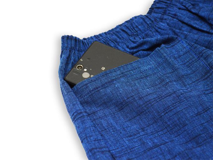 女性パンツルック作務衣 ブルー ズボンポケット