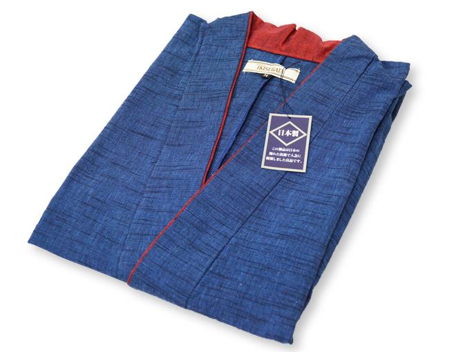 女性パンツルック作務衣 ブルー畳んだ状態