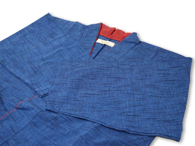 女性パンツルック作務衣 ブルー上着