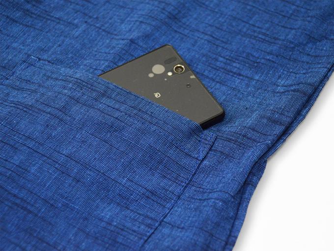 女性パンツルック作務衣 ブルー上着ポケット