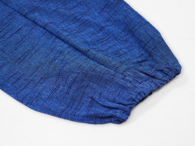 女性パンツルック作務衣 ブルー ズボン裾部分