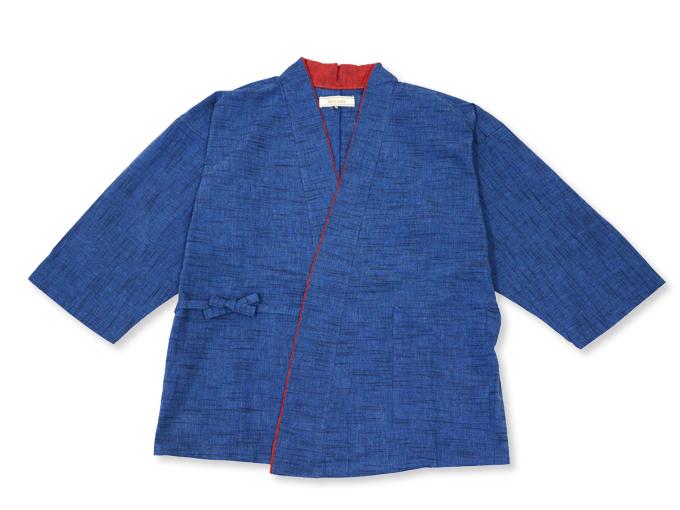 女性パンツルック作務衣 ブルー 上着