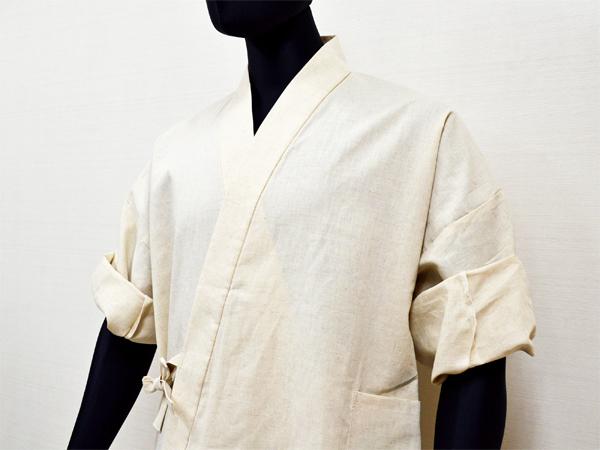 日本製 高機能麻綿ロールアップ作務衣 No.1 生成り