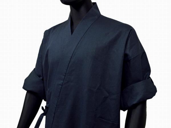 日本製 高機能麻綿ロールアップ作務衣 No.2 濃紺