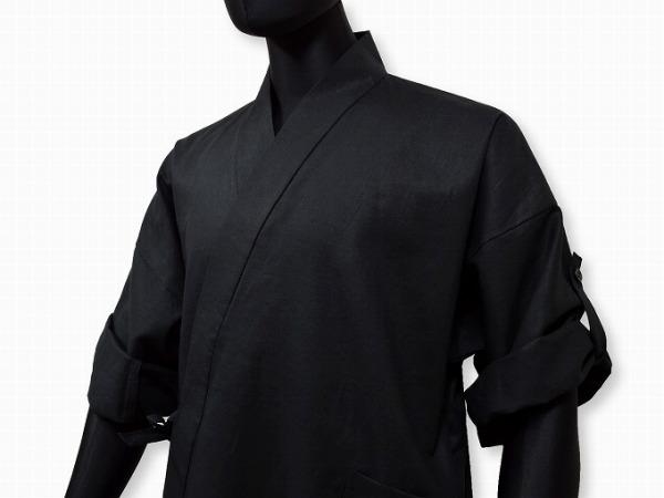 日本製 高機能麻綿ロールアップ作務衣 No.4 黒