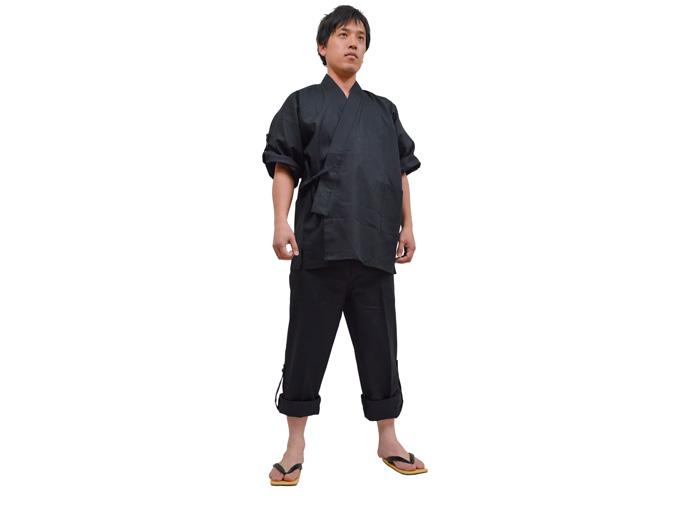 高機能麻綿ロールアップ作務衣 No.4 黒