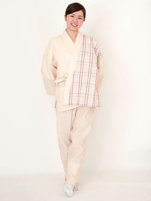 阿波しじら女性デザイン作務衣 日本製