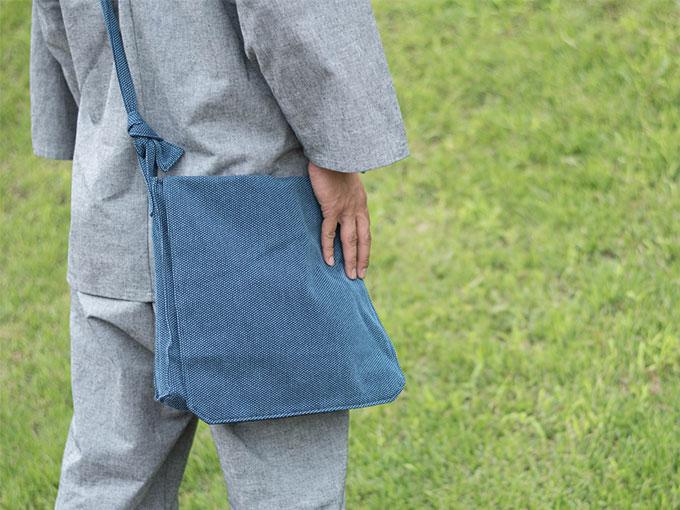 刺子織頭陀袋 ブルー