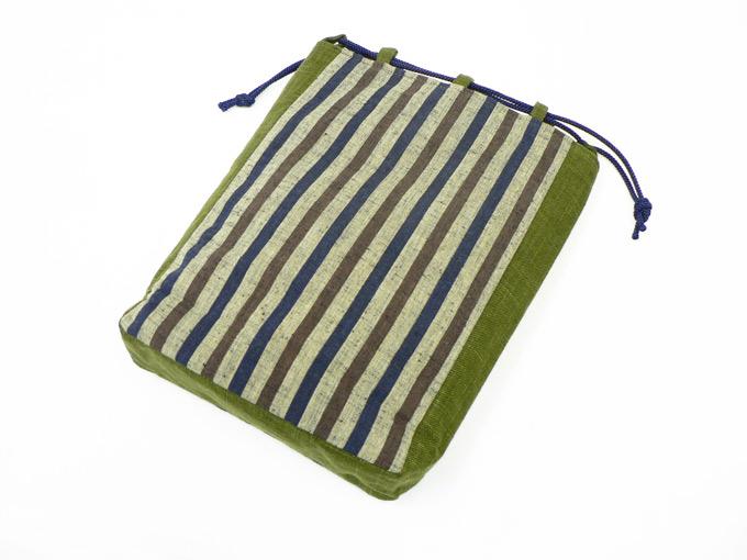 綿縞信玄袋 No.4 茶太縞×緑