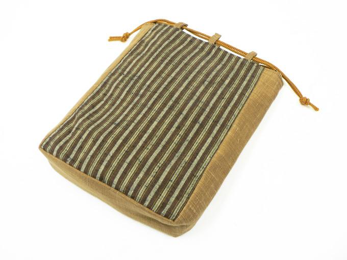 綿縞信玄袋 No.5 茶細縞×茶
