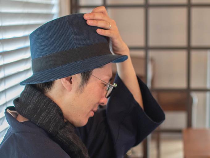 刺子織中折れ帽子 No.1 紺