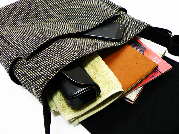 作務衣用刺子織ショルダーバッグ 茶