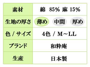 麻混ワッシャー作務衣(M,L,LL)