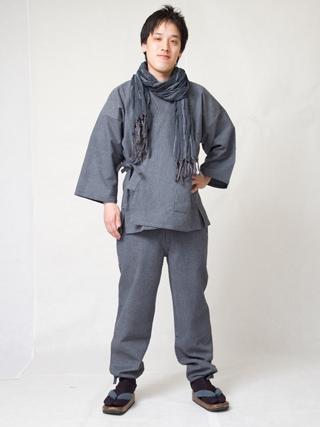 亀甲作務衣2番色  黒