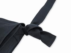 刺子織頭陀袋 黒 結び目部分