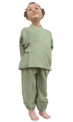 絣紬子供用作務衣