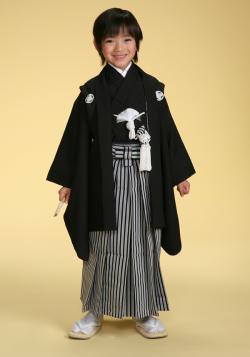 【七五三セット】ひさかたろまんみに 5歳男児 正絹黒紋付セット
