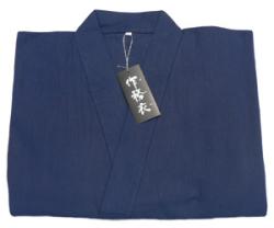 麻混作務衣1番色紺