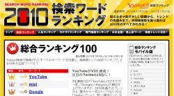 検索キーワードランキング2010