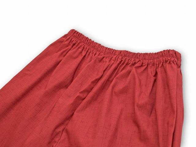 絣風女性無地作務衣 No.2 赤ズボンポケット