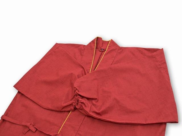 絣風女性無地作務衣 No.2 赤衿部分