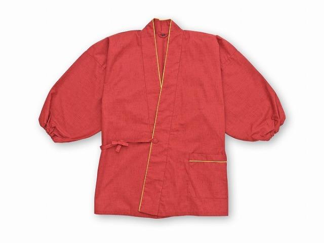 絣風女性無地作務衣 No.2 赤ポケット部分
