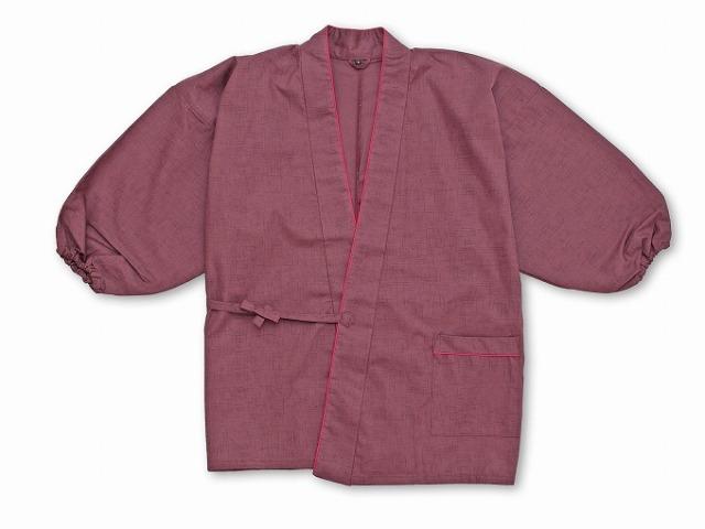 絣風女性無地作務衣 No.5 紫ポケット部分