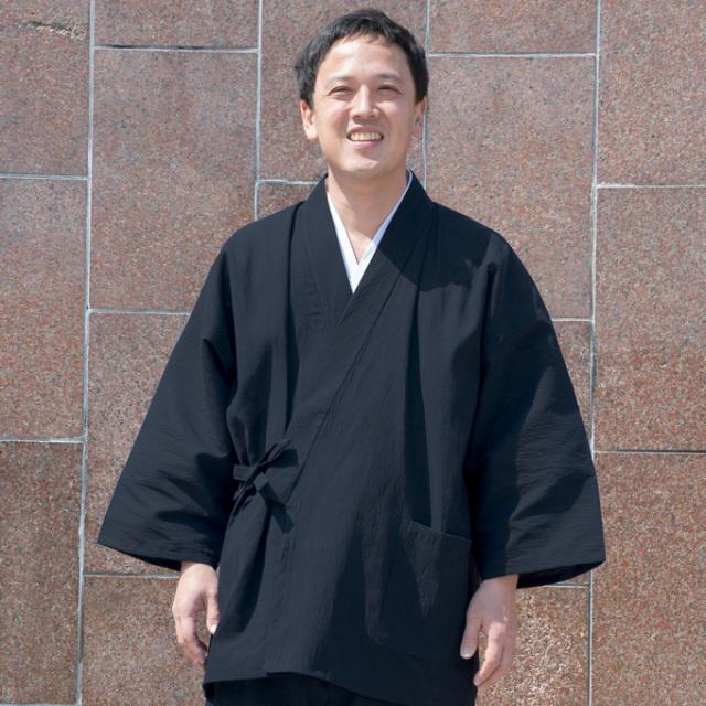アイスコットン近江ちぢみ作務衣 No.4 黒
