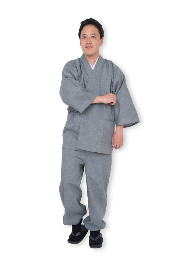 テト麻筒袖作務衣 和粋庵 モデル着用 ※モデルは身長173cm、体重65kg、Lサイズ着用
