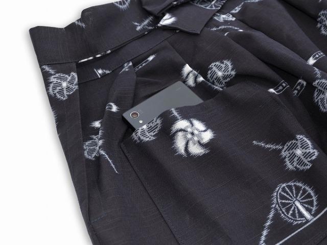 絵絣(えがすり)袴式本もんぺ NO.4 糸車 ポケット部分