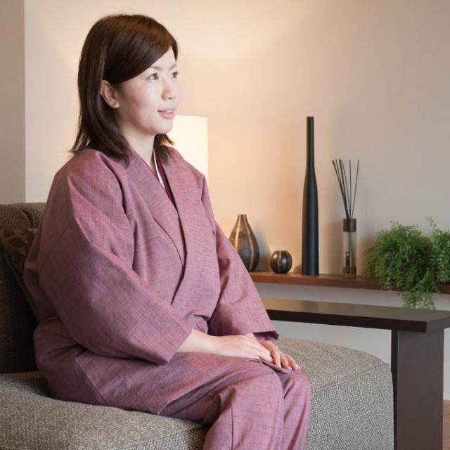 女性紬織作務衣式綿入れキルト袢天 No.1 ピンク