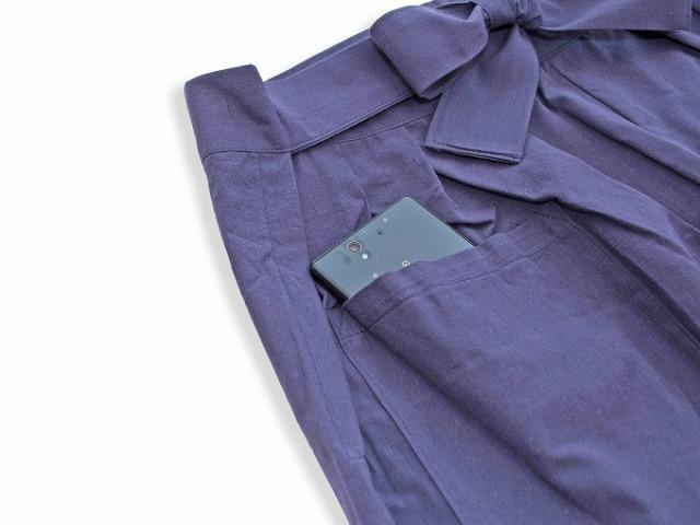 袴式本もんぺ無地 NO.8 紫 ポケット部分