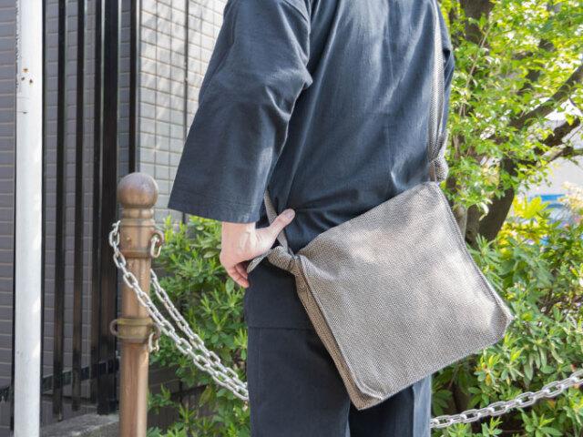 刺子織頭陀袋 茶 イメージ
