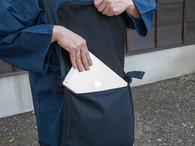 刺子織頭陀袋 黒 イメージ