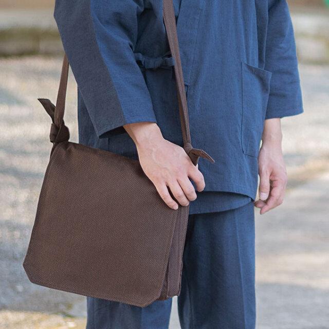 刺子織頭陀袋 No.6 濃茶