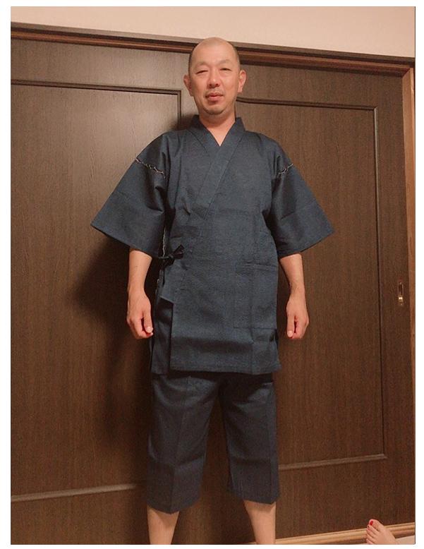 甚平 しじら織 中紺 Lサイズ 170cm 67キロ サイズ感は 丁度良い 初めて甚平を 買いましたが さらりとした感じで とても気持ち良いです
