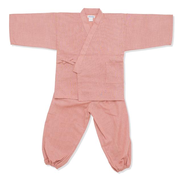 子供用絣紬作務衣 13番色 ピンク