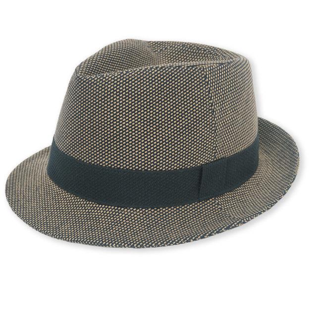 刺子織織中折れ帽子 No.2 茶