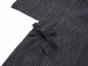 子供用近江ちぢみ絣織甚平 濃紺 上着紐