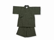 子供用近江ちぢみ絣織甚平 グリーン ズボン裾