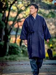 日本製ウール作務衣コート 濃紺