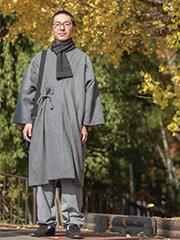 日本製ウール作務衣コート グレー