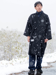 日本製ウール作務衣コート 黒 ブラック
