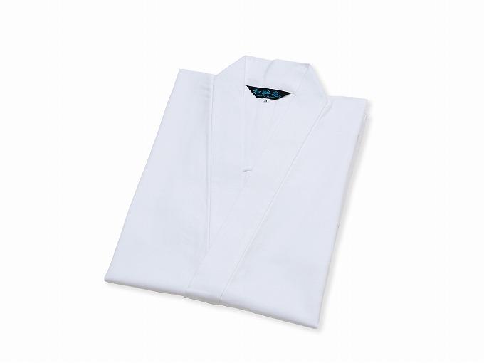 ななこ織作務衣 白 畳んだ状態