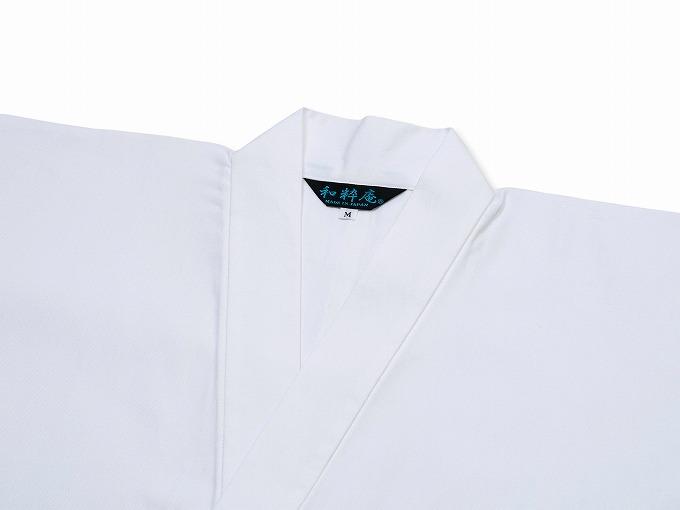 ななこ織作務衣 白 衿部分