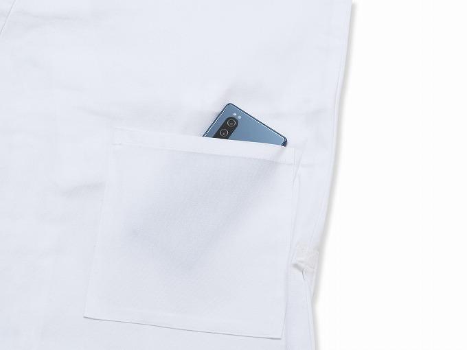 ななこ織作務衣 白 上着ポケット