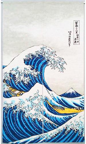 浮世絵のれん 波裏