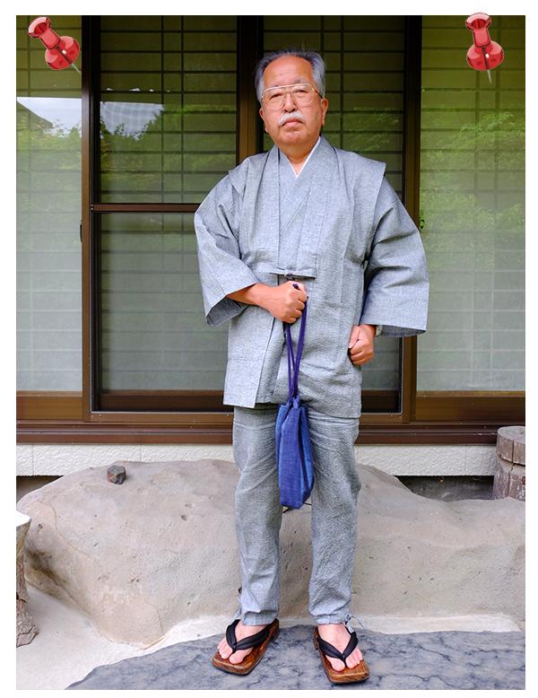 綿麻しじら作務衣グレー【IKISUGATA】と同色羽織 着こなし
