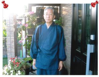 【日本製】 多機能袖裾ゴム式作務衣 No.1 濃紺【和粋庵】/M 8月に作務衣を購入し、その着用写真をプリントしましたので同封いたしました。