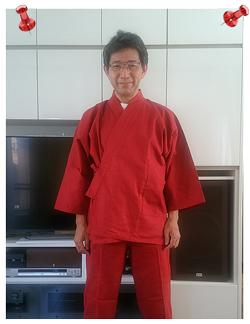絣紬作務衣 Mサイズ No.15エンジ 還暦祝のプレゼントでした